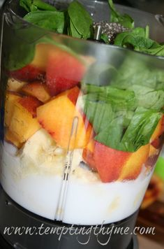 Peach Matcha Smoothie *  2 bananas *  2 peaches *  1-2 cups fresh spinach *  1 tsp Matcha Powder *  1/4 – 1/2 cup coconut milk, unsweetened
