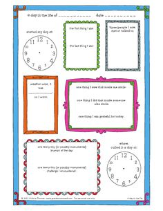 Printable 'day in the life of' journal page.. Free print out for kids in colour