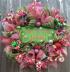 Happy Birthday Jesus Christmas Wreath Holiday by BaBamWreaths