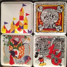 #Disney Appetizer Plates – 4 Piece Set. I LOVE these. I look at these plates every time I'm in the World of Disney!!