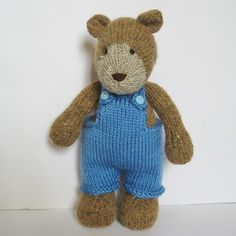 Teddy Bear knitting pattern with dungarees and pinafore dres - Please Click on the image to view next