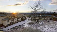 Sunset behind Northwoods Village apartments on a snowy day at Skidmore College in Saratoga Springs, NY.