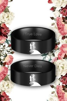Nightmare Before Christmas Couples Rings with Jack and Sally Pattern Black Rings, Dream Wedding, Wedding Day, October Wedding, Wedding Dreams, Wedding Anniversary, Wedding Stuff, Nightmare Before Christmas Wedding, Wedding Ring