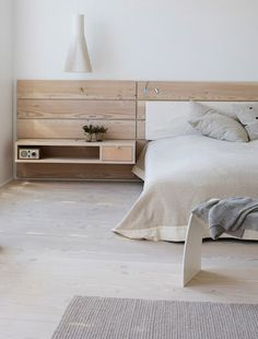 Bedroom Rustic White Bedroom Design Combined With Floating Bedside Table And Wooden Headboard Ideas Monochrome Bedroom Design Inspiration Guest Bedroom Inspiration, Interior, Home, Home Bedroom, House Interior, Bedroom Inspirations, Bed, Loft Apartment, Home Interior Design