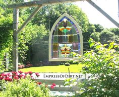 Stained glass window in the garden - gallery of doors and windows