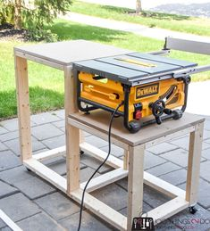 table saw stand Create a workbench for your table saw using and some mdf. Building plans for a table saw stand, table saw station, table saw bench, table saw workbench. Table Saw Workbench, Table Saw Jigs, Diy Table Saw, Woodworking Workbench, Workbench Ideas, Garage Workbench, Workbench Organization, Folding Workbench, Dewalt Table Saw Stand