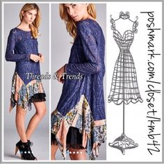 Colbalt Blue Textured Lace Mini Tunic Dress Colbalt Blue diamond textured lace tunic featuring a patchwork ruffle asymmetrical hem. Made of cotton & lace. Semi sheer. Black ruffle slip not included. Size S, M, L oversized slouchy mini dress Threads & Trends Dresses