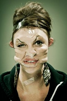 Ideas for ugly selfies... scotch-tape-portraits-9