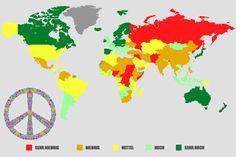 Der Global Peace Index 2015 benennt die friedlichsten Länder der Erde – und ebenso jene, in denen es nicht so friedlich zugeht. Die Ergebnisse.