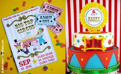 love this Circus or Carnival theme invitation and cake