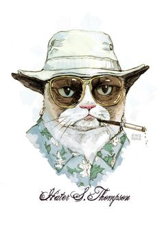 Grumpy Cat as Hunter S. Thompson 5x7 Signed Art by JewelRenee, $15.00