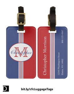 This luggage tag features red, white, and blue vertical stripes topped with an oval containing a customizable name and initial. The back has a customizable name, address, and phone number or email address. https://www.zazzle.com/red_white_blue_stripes_monogram_bag_tag-256176642755750889?rf=238083504576446517&tc=20170625_pint_SSOZ #StudioDalio custom personalized monogram travel accessories Zazzle