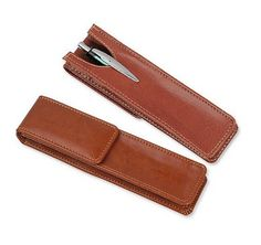 Brown Leatherette Pen Pouch  Single Pen Size  by WhiddensWoodshop