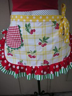 Aprons - Womens Waist Aprons - Sweet Cherry Aprons - Handmade Aprons - Cherry Fabric Aprons - Annies Attic Aprons - Hostess Apron Gifts #affiliate #aprons
