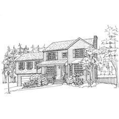Reserved for Ellen  Custom house drawing by rachelink on Etsy, $75.00
