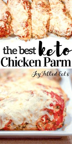 Chicken Parm is one of the dishes at every Italian restaurant in the US. I know why: it's delicious! My keto chicken parmesan is fast, grain free, low carb, & and kid approved! By subbing parmesan che No Bread Diet, Low Carb Bread, Keto Bread, Chicken Parmesan Recipes, Keto Chicken, Baked Chicken, Palak Chicken, Cheesy Chicken, Sin Gluten
