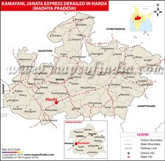 Location Map of Kamayani and Janata Express Trains Derail in Madhya Pradesh