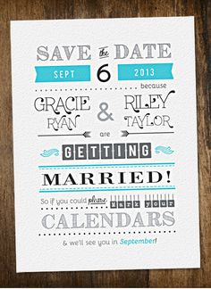Save the Date wedding invite by alliestickadesign  So fun! #wedding #savethedate #invitation