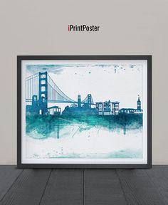 San Francisco Art Print Watercolor San Francisco by iPrintPoster