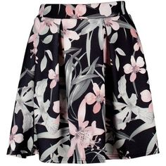 Cleo Floral Box Pleat Skater Skirt ($17) ❤ liked on Polyvore featuring skirts, floral print skirt, flower print skirt, circle skirt, flared skirt and floral printed skirt