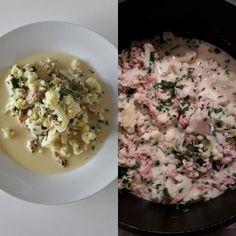 Karfiol mit Thunfisch in Käsesauce