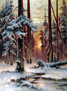 """Yuly Klever. """"A Winter Day in the Forest"""" 1889"""