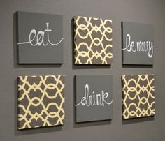 Eat Drink  Be Merry Wall Art Pack of 6 Canvas Wall Hangings Hand Painted Fabric Upholstered Dining Room Decor Modern Chic Charcoal Gray