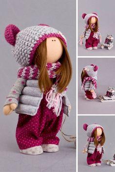 Baby doll Winter doll Christmas doll Handmade doll Red doll Soft doll Art doll Fabric doll Nursery doll Cloth doll Toy