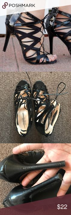 Prabal gurung For Target black lace up heels Used, Prabal Gurung collab with target. These heels are comfortable. They can adjust in width with the lacing and have a zipper in the back for easy put on and off. Prabal Gurung for Target Shoes Heels