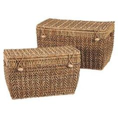 Set of two natural fiber nesting trunks with bead closures.  Product: Small and large trunkConstruction Material: Natural fiberColor: NaturalDimensions: 3 H x 20.5 W x 12 D (large)