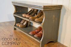 Shoe Storage Cabinet, Rack, Bench, Stool - Pine (Vintage Grey): Amazon.co.uk: Kitchen  Home