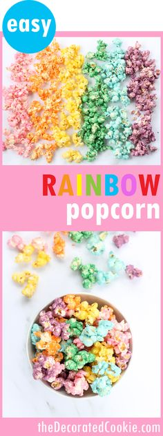 How to make colorful, candy RAINBOW POPCORN! A fun food snack for a rainbow party or unicorn party. Awesome unicorn food. Also great for St. Patrick's Day. Video how-tos included. #RainbowsHmmm