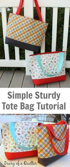 Simple Sturdy Tote Bag Free Tutorial
