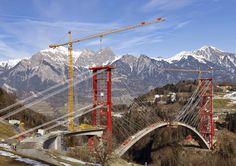 Liebherr - Tow 280 EC-H 12 Litronic Tower Cranes at the Tamina Bridge, Switzerland.