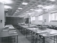 Basement of the Herbarium, 1950s. Archives of the Gray Herbarium.