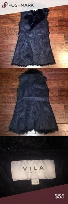 ASOS FUR VEST ASOS faux fur vest (VILA brand) - size large but will also fit a medium due to adjustable belt. Outside is super soft black faux suede with geometric details and inside is fur lined. Comes to mid thigh - in new condition! ASOS Jackets & Coats Vests