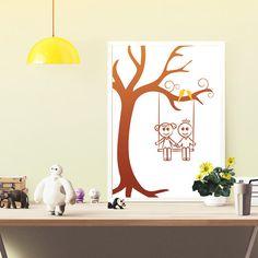 toddler art illustration neutral nursery decor by OrangeKiteLabs