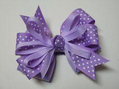 Lavendar Orchid Polka Dot Hair Bow Boutique Toddler Girl