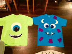 For Jameson with blue beanie to look like hard hat Sully Costume Diy, Mike And Sully Costume, Monsters Inc Halloween Costumes, Monster Inc Costumes, Cute Group Halloween Costumes, Trendy Halloween, Halloween Kostüm, Halloween Outfits, Diy Mike Wazowski Costume