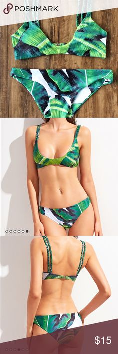 Tropical Leaf Bikini Size Medium I have three brand new bikinis never even been tried on. I have one for myself and it fits well and pretty true to size. I usually wear a medium bottom and large top in Victoria Secret swim suits to give some sort of reference on size. Swim Bikinis