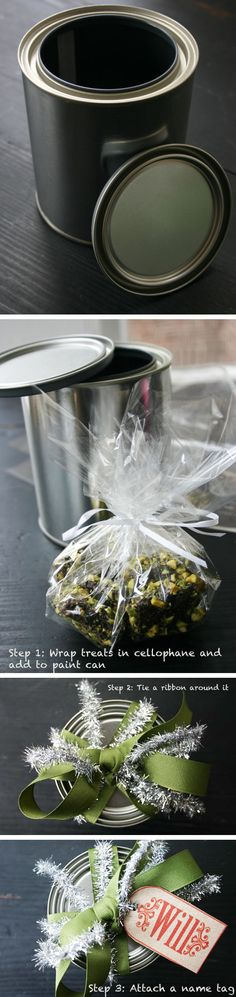 Wrap food gifts in an empty paint can and tie with a bow #giftwrap #giftideas #holiday