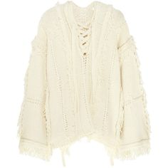 3.1 Phillip Lim Oversized fringed knitted sweater ($915) ❤ liked on Polyvore featuring tops, sweaters, white, over sized sweaters, open-knit sweater, fringe poncho, bohemian tops and white fringe top