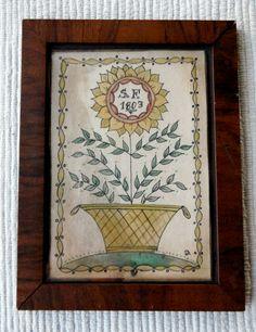 primitive fraktur of a sunflower by primitivehand on Etsy, $98.00