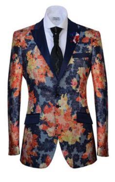 #BFCM #CyberMonday #MensUSA - #MensUSA Mens Two Button Peak Lapel Fashion Sport Coat Tuxedo Jacket / Blazer Mens / Tux / Dinner Jacket Looking Floral Pattern Orange Jacket Floral flower Paisley Shiny pattern - AdoreWe.com
