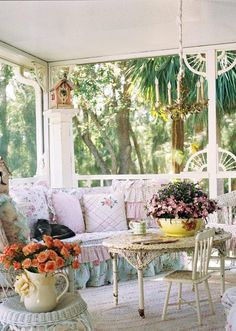 Lovely front porch, a little shabby, a little chic  (via Living and Dining Spaces)