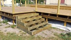 Deck Steps, Front Steps, Porch Stairs, House Deck, Wooden Stairs, Decks And Porches, Building A Deck, Outdoor Furniture Sets, Outdoor Decor