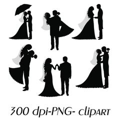 Bride and Groom Silhouettes - Digital Clipart Wedding - Scrapbooking Invitations Printable Graphic INSTANT DOWNLOAD