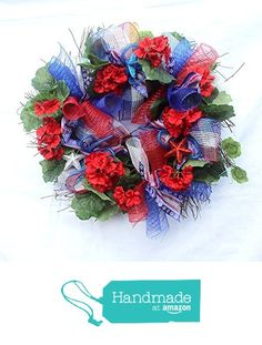 Patriotic wreath for front door, of july, Americana Red White Blue decorations. Patriotic Wreath, 4th Of July Wreath, Spring Front Door Wreaths, Summer Wreath, Deco Mesh, Red White Blue, Fourth Of July, Christmas Wreaths, Wall Decor