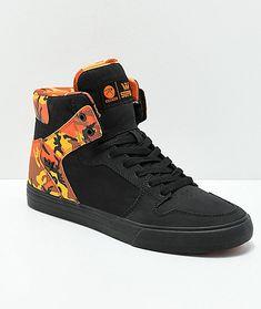 a7fbac588d2a Supra x Rothco Vaider Black   Savage Orange Camo Skate Shoes