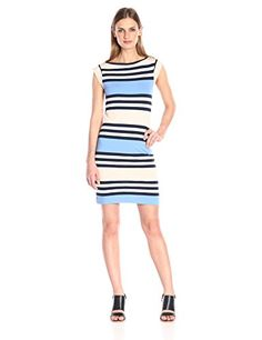 French Connection Womens Multi Jag Stripe Vista BlueApricot SpritzWhiteNocturnal 8 ** Be sure to check out this awesome product.